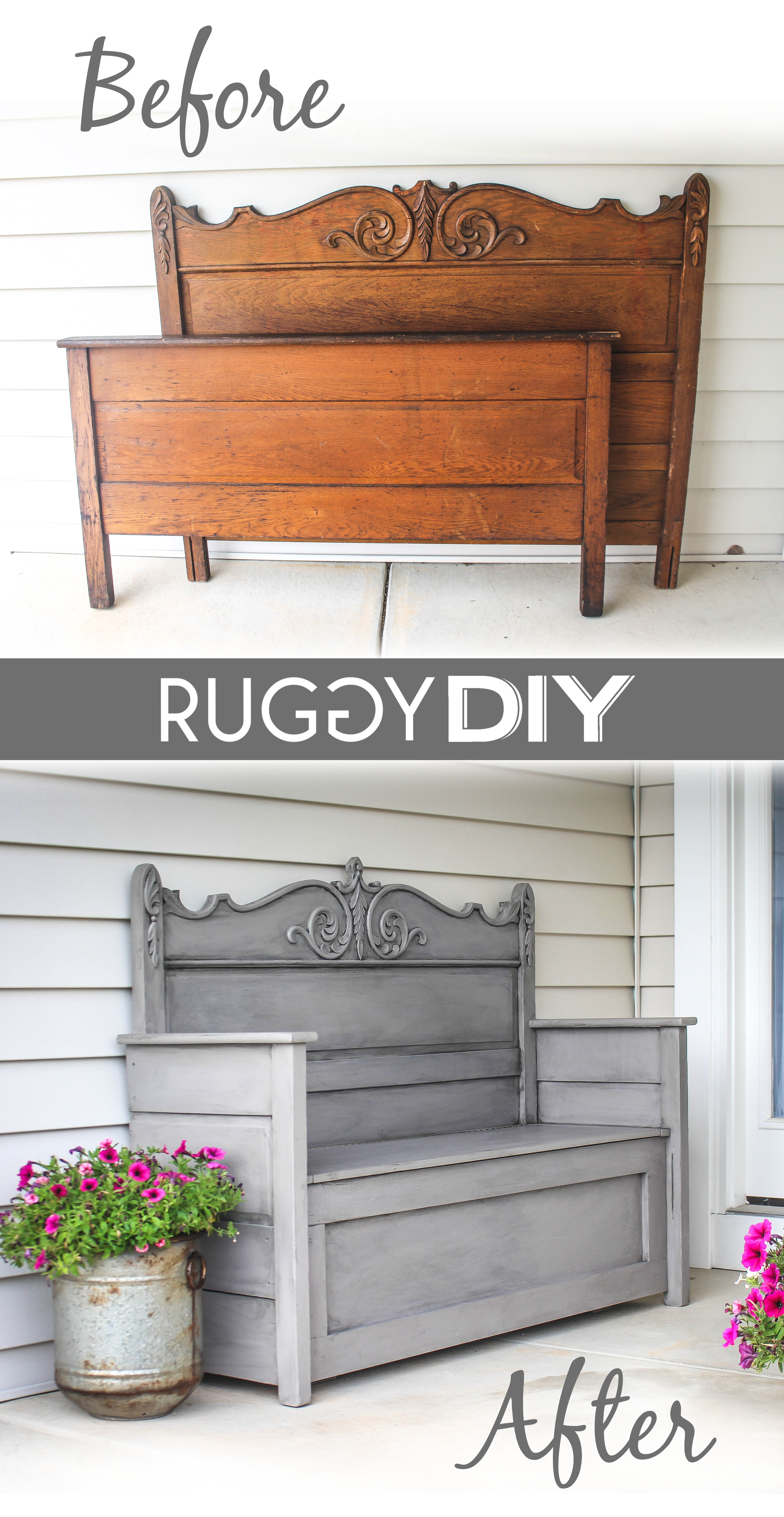 Repurposed Headboard Bench Ruggy Diy